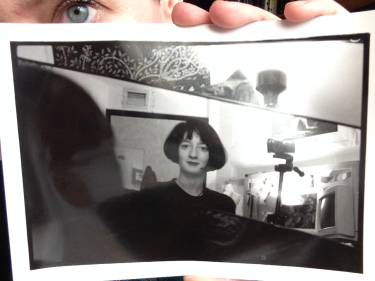 woman holding selfie